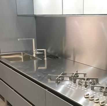 metal countertop and backsplash