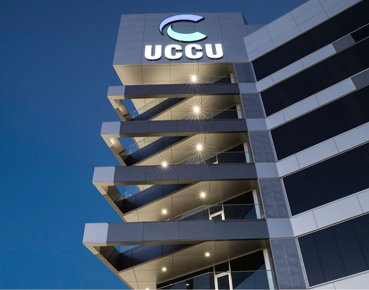 acm panels on uccu building